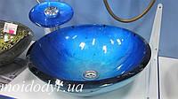 Комплект: умывальник стеклянный круглый GV-204 + смеситель, фото 1