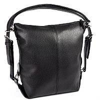 Сумка-рюкзак женская трансформер черная матовая на плечо