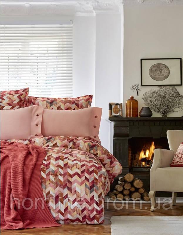 Набор постельное белье с пледом Karaca Home Melange оранжевый евро размера