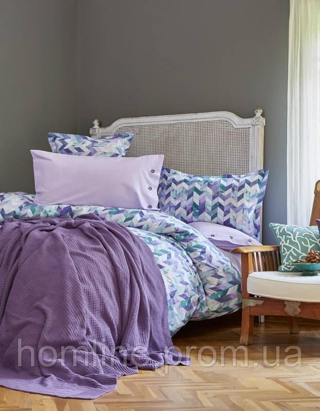Набор постельное белье с пледом Karaca Home Melange сиреневый евро размера