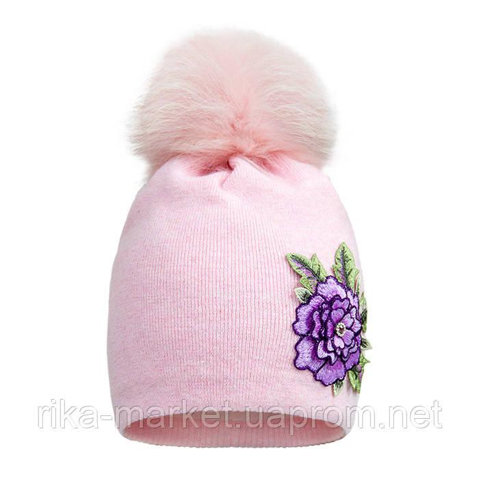 Зимняя шапка для девочки арт 17313 от 3 - 5 лет