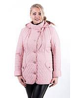 Женская демисезонная стеганая куртка на пуговицах большого размера