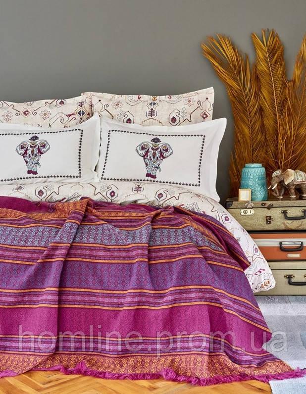 Набор постельное белье с пледом Karaca Home Maresa фиолетовый евро размера