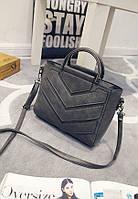 Женская сумка с ручками и ремешком серая, фото 1