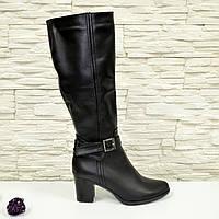 Стильные женские кожаные сапоги на устойчивом каблуке. 36,40 размеры
