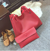 Женская большая сумка и клатч набор красный, фото 1