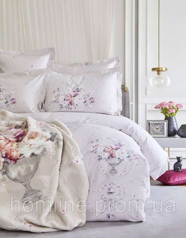 Набор постельное белье с пледом Karaca Home Roselina серый евро размера