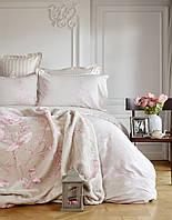 Набор постельное белье с пледом Karaca Home Passero пудра евро размера