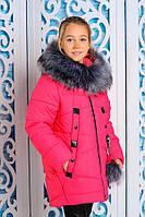 Куртка зимняя для девочки плащевка «Джессика» искусственный мех с капюшоном