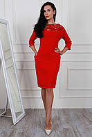 Стильное красное платье с паетками по сетке размеров:48,50,52