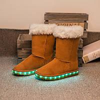 Угги со светящейся подошвой LED (USB подзарядка) Коричневые высокие, размер 30-40