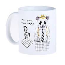 """Чашка с пандой хипстер """"Утром деньги, вечером - стулья!"""""""
