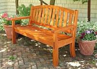 Скамья садовая, деревянная мебель для дачи Флокс со спинкой, фото 1