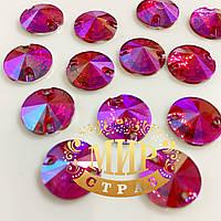 Пришивные камни (синтет стекло), цвет Hot Rose AB, 12мм, 1шт