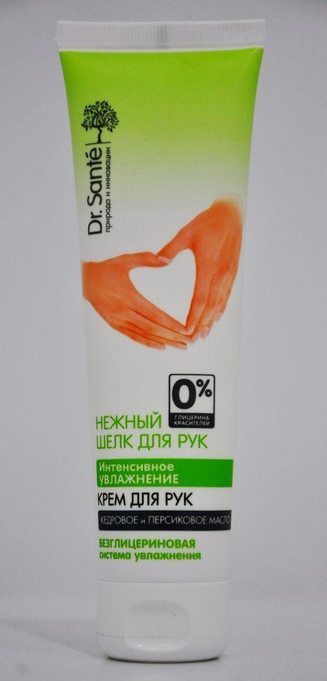 Крем для рук Интенсивное увлажнение Кедровое и персиковое масло Dr. Sante Нежный шелк 90мл.