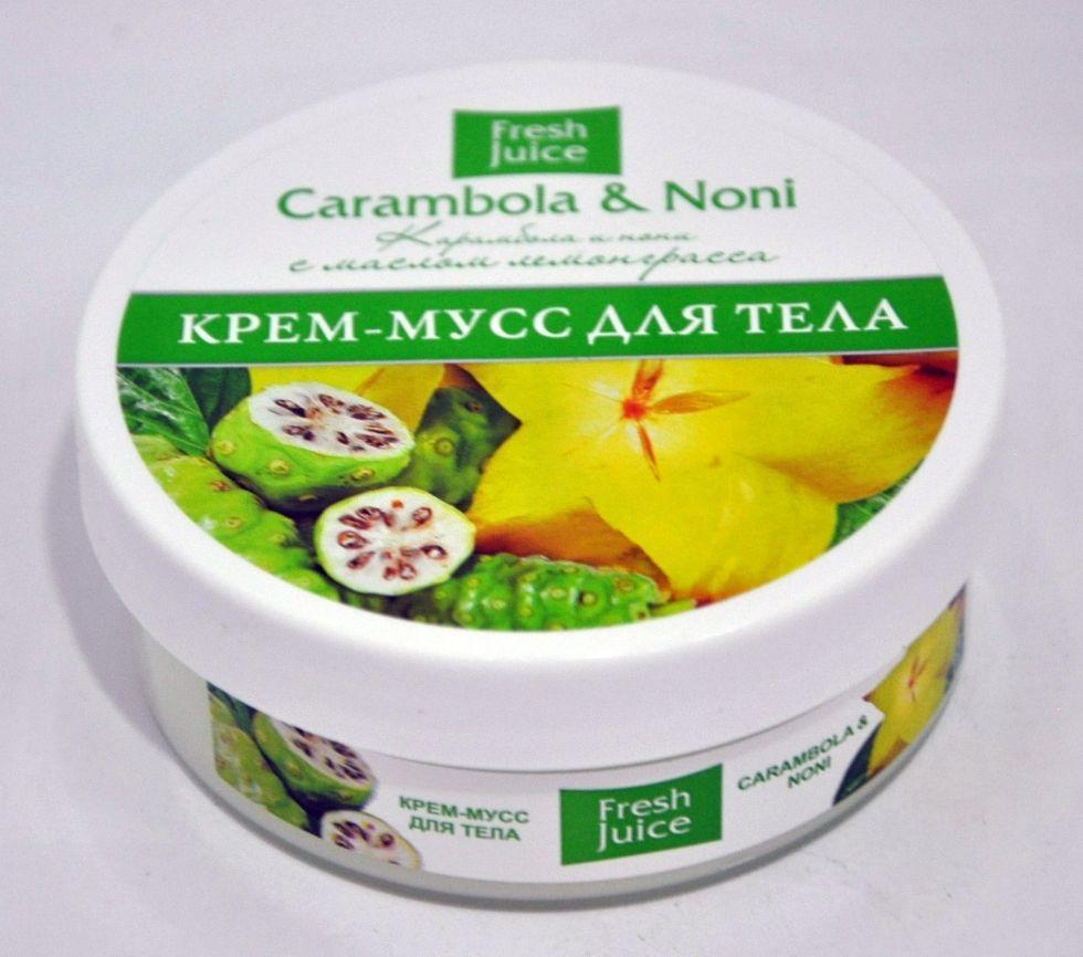 Крем-мусс для тела Carambola & Noni (Карамбола и Нони) С маслом лемонграсса Fresh Juice 225мл.