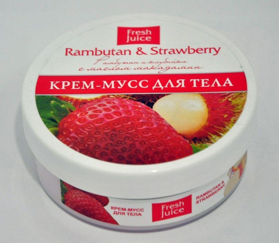 Крем-мусс для тела Rambutan & Strawberry (Рамбутан и Клубника) С маслом макадамии Fresh Juice 225мл.