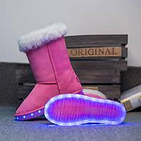 Угги со светящейся подошвой LED (USB подзарядка), Розовые высокие, размер 31,33,38