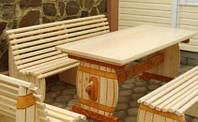 Скамья без спинки из натурального дерева из комплекта Пивная 2м, фото 1