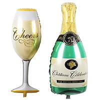 Шары фольгированные на палочке Бутылка шампанского и бокал