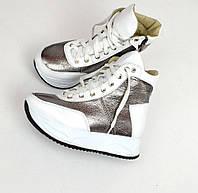 Женские зимние кожаные ботинки белого цвета, 36-40р.