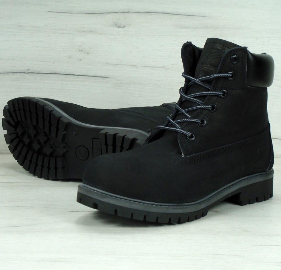 Зимние ботинки Timberland черные с мехом (Реплика ААА+)