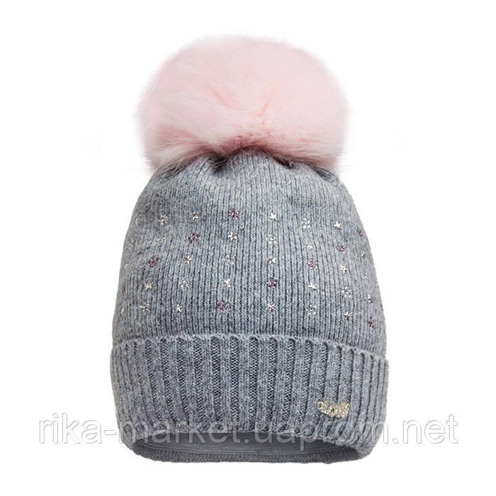 Зимняя шапка для девочки арт 17317 от 5 - 8 лет