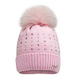 Зимняя шапка для девочки арт 17317 от 5 - 8 лет, фото 2