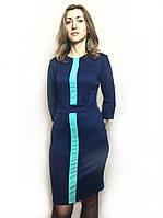 Синее трикотажное платье с вставкой П193