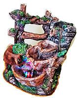 Фонтан комнатный садовый декоративный 4-е каскада 2*2 струи с виноградом шарик 8231 30см 078