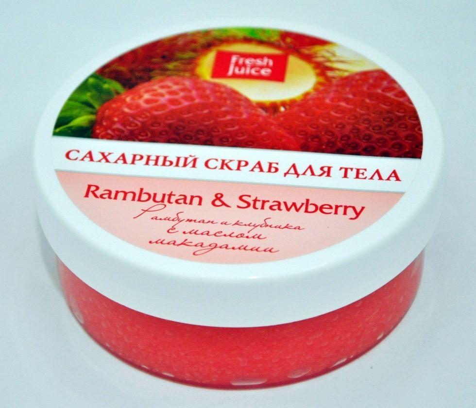 Скраб для тела сахарный Rambutan & Strawberry (Рамбутан и клубника) с маслом макадамии  Fresh Juice 225мл.
