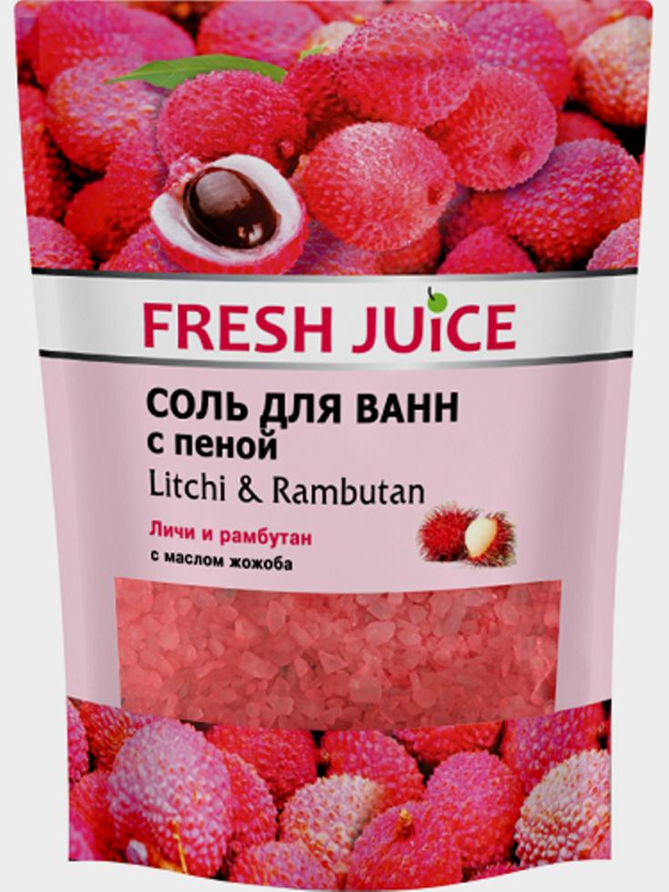 Соль для ванн с пеной Litchi & Rambutan (Личи и рамбутан) Fresh Juice 500мл.