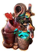 Фонтан комнатный садовый декоративный Три горшка 2-е птички посветка 30см