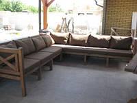 Скамья угловая 2,85м Эмине, деревянная мебель для дачи Эмине