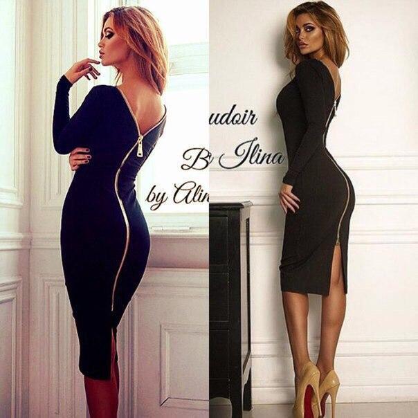 04cd264779f Платье черного цвета с молнией на спине и V-образным вырезом -  Интернет-магазин