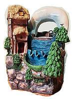 Фонтан настольный Дом у моря подсветка, шар, насос 18=15=23  8069 078