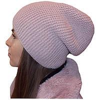 Женская вязаная шапка - носок (утепленный вариант) цвета пудры