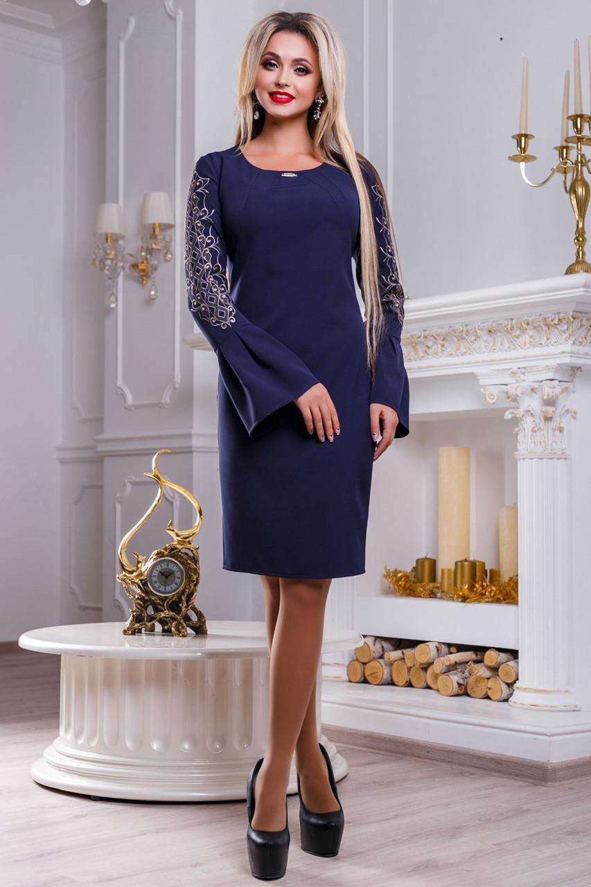 Платье женское с вышивкой синее