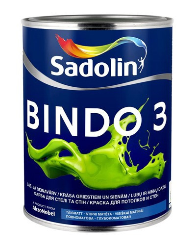 Краска для стен  и потолка Sadolin BINDO 3 ( Садолин Биндо 3) 1л