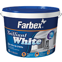 "Краска для стен и потолков белоснежная Farbex ""Brilliant White"" 7 кг"