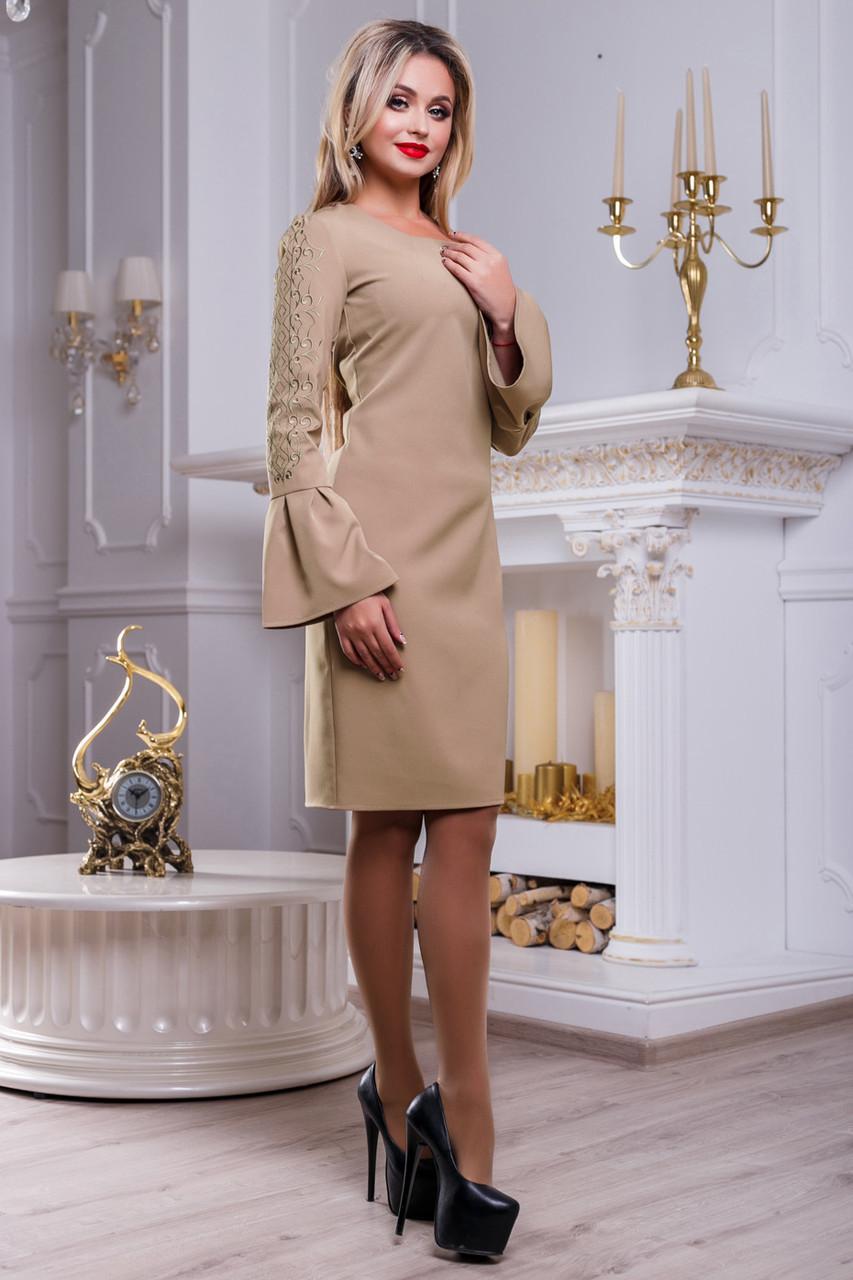 Платье нарядное с вышивкой женское кофе