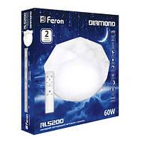 Светодиодный функциональный потолочный светильник Diamond AL5200 60W 3000-6500K белый IP20 Feron