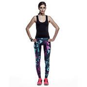 Спортивные женские леггинсы, лосины с ярким принтом -209-06