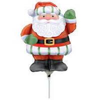 Шар фольгированный на палочке Дед Мороз