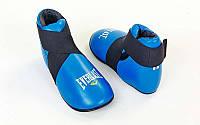 Футы для кикбоксинга, тхэквондо кожаные Everlast  (р-р M-XL, синий, крепление резина)