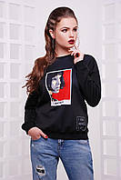 Молодежный черный женский теплый свитшот с принтом Mathilda