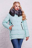 Красивая женская зимняя куртка с меховым воротником мятная, большие размеры Куртка 17-038