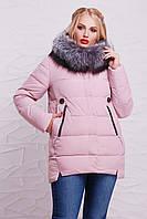 Красивая женская зимняя куртка с меховым воротником пудровая, большие размеры Куртка 17-038