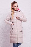Женский бежевый зимний пуховик с капюшоном и красивой отделкой на спинке, зимняя куртка 302