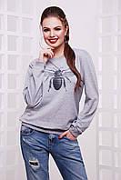 Стильный серый женский свободный свитшот с принтом Муха кофта Свитшот №2Т (весна) д/р